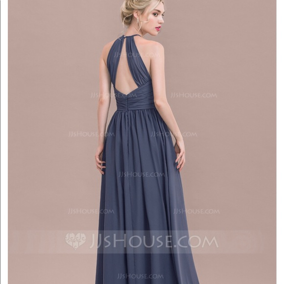 5dd0d48c JJ's House Dresses   Jjs House Blue Aline Scoop Neck Long Dress ...